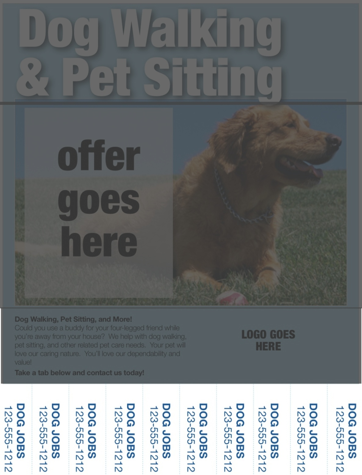 dog walking flyers contact information