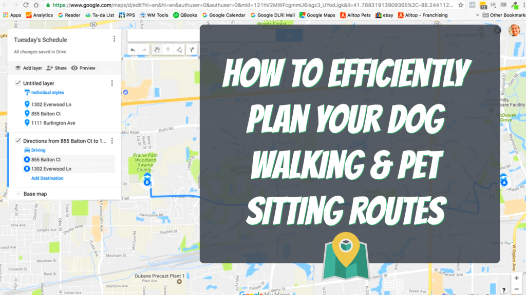 map route tools for dog walking and pet sitting